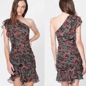 One shoulder ruched floral dress